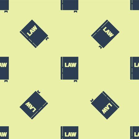 Blue Law book icon isolated seamless pattern on yellow background. Legal judge book. Judgment concept. Vector Illustration