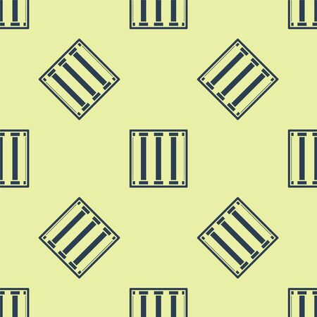 Blue Prison window icon isolated seamless pattern on yellow background. Vector Illustration