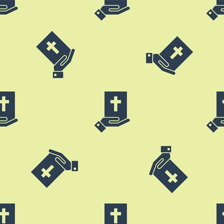 Blue Oath on the Holy Bible icon isolated seamless pattern on yellow background. The procedure in court. Truth and truth. Promise before god. Vector Illustration Illusztráció