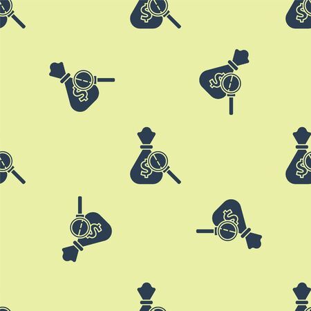 Blue Money bag and magnifying glass icon isolated seamless pattern on yellow background. Dollar or USD symbol. Cash Banking currency sign. Vector Illustration