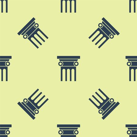Blue Law pillar icon isolated seamless pattern on yellow background. Vector Illustration