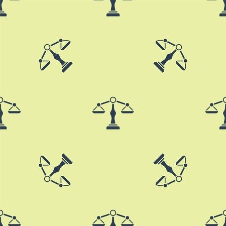 Blue Scales of justice icon isolated seamless pattern on yellow background. Court of law symbol. Balance scale sign. Vector Illustration