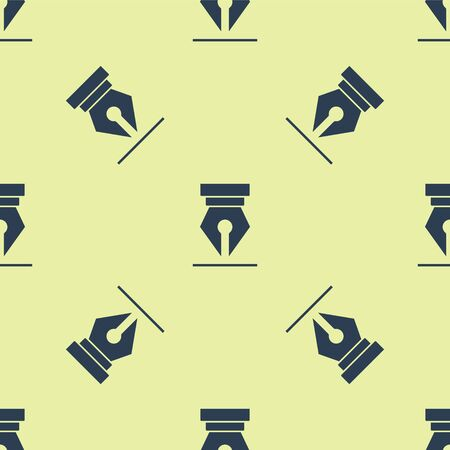 Blue Fountain pen nib icon isolated seamless pattern on yellow background. Pen tool sign. Vector Illustration 向量圖像