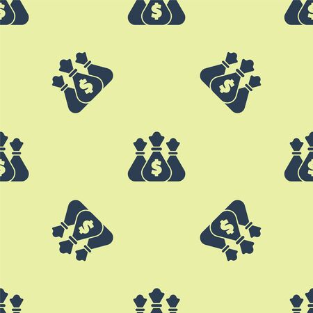 Blue Money bag icon isolated seamless pattern on yellow background. Dollar or USD symbol. Cash Banking currency sign. Vector Illustration