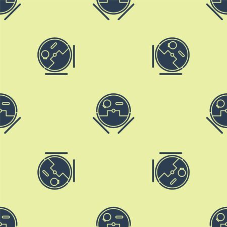 Blue Robot vacuum cleaner icon isolated seamless pattern on yellow background. Home smart appliance for automatic vacuuming, digital device for house cleaning. Vector Illustration Illusztráció