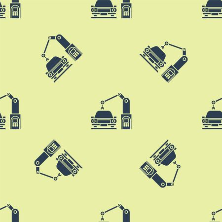 Blue Industrial machine robotic robot arm hand on car factory icon isolated seamless pattern on yellow background. Industrial automation production automobile. Vector Illustration
