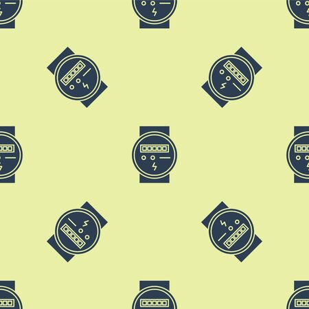 Blue Electric meter icon isolated seamless pattern on yellow background. Vector Illustration