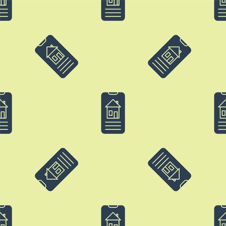 Blue Smart home icon isolated seamless pattern on yellow background. Remote control. Vector Illustration