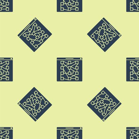 Blue Global technology or social network icon isolated seamless pattern on yellow background. Vector Illustration Illustration
