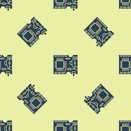 Blue Printed circuit board PCB icon isolated seamless pattern on yellow background. Vector Illustration Иллюстрация