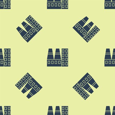 Blue Power station plant and factory icon isolated seamless pattern on yellow background. Energy industrial concept. Vector Illustration