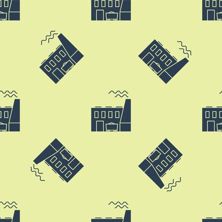 Blue Coal power plant and factory icon isolated seamless pattern on yellow background. Energy industrial concept. Coal power station. Vector Illustration 向量圖像