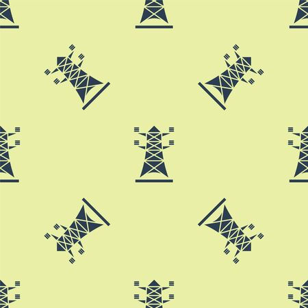 Blue Electric tower used to support an overhead power line icon isolated seamless pattern on yellow background. High voltage power pole line. Vector Illustration
