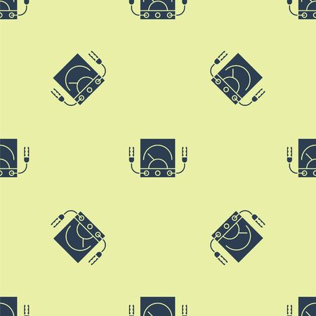 Blue Ampere meter, multimeter, voltmeter icon isolated seamless pattern on yellow background. Instruments for measurement of electric current. Vector Illustration Illusztráció