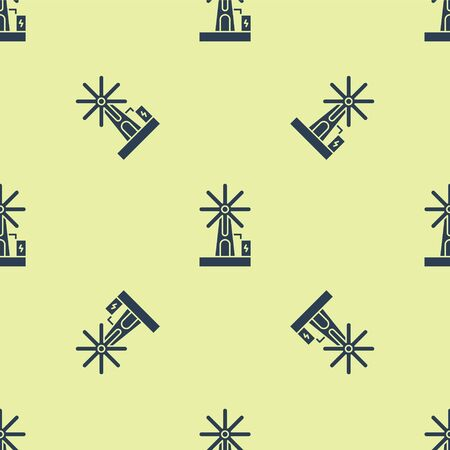 Blue Wind turbine icon isolated seamless pattern on yellow background. Wind generator sign. Windmill for electric power production. Vector Illustration