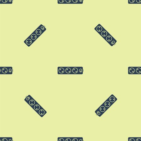 Blue Electric extension cord icon isolated seamless pattern on yellow background. Power plug socket. Vector Illustration