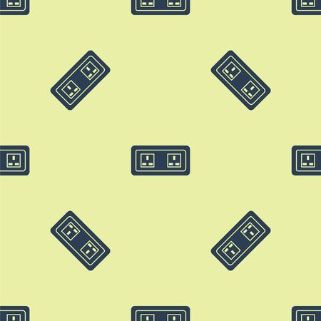 Blue Electrical outlet icon isolated seamless pattern on yellow background. Power socket. Rosette symbol. Vector Illustration