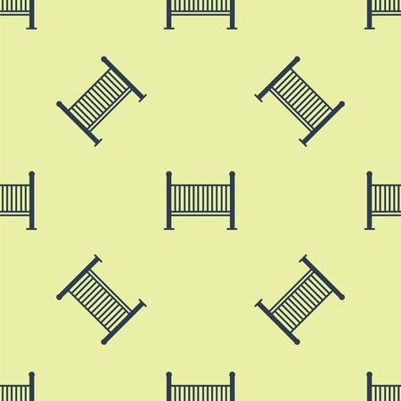 Blue Baby crib cradle bed icon isolated seamless pattern on yellow background. Vector Illustration