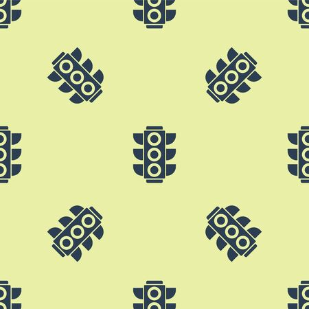 Blue Traffic light icon isolated seamless pattern on yellow background. Vector Illustration