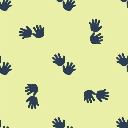 Blue Baby hands print icon isolated seamless pattern on yellow background. Vector Illustration Ilustracja