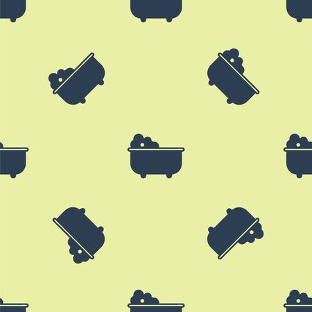 Blue Baby bathtub with foam bubbles inside icon isolated seamless pattern on yellow background. Vector Illustration Illusztráció