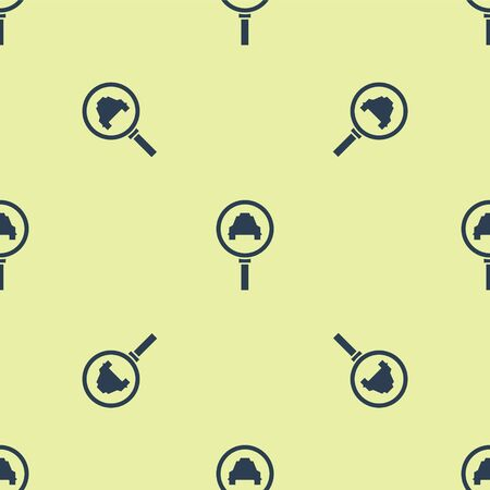 Blue Magnifying glass and taxi car icon isolated seamless pattern on yellow background. Taxi search. Vector Illustration Ilustracja
