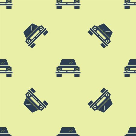 Blue Car icon isolated seamless pattern on yellow background. Front view. Vector Illustration