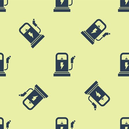 Blue Electric car charging station icon isolated seamless pattern on yellow background. Eco electric fuel pump sign. Vector Illustration Иллюстрация