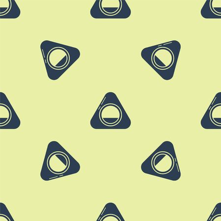 Blue Pet bed icon isolated seamless pattern on yellow background. Vector Illustration Vettoriali