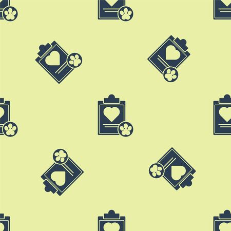 Blue Clipboard with medical clinical record pet icon isolated seamless pattern on yellow background. Health insurance form. Medical check marks report. Vector Illustration