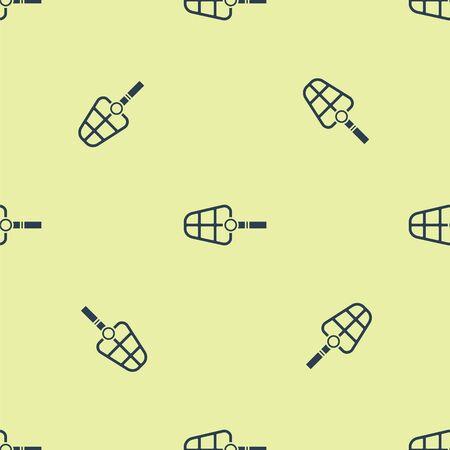 Blue Dog muzzle icon isolated seamless pattern on yellow background. Vector Illustration Illusztráció