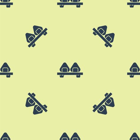 Blue Sushi on cutting board icon isolated seamless pattern on yellow background. Asian food sushi on wooden board. Vector Illustration