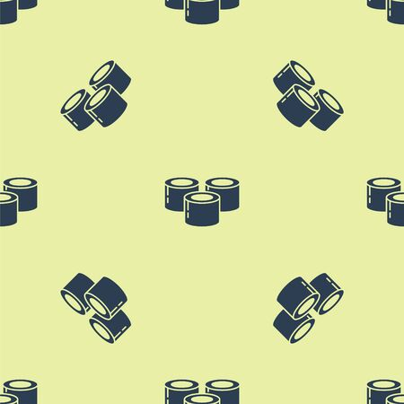 Blue Sushi icon isolated seamless pattern on yellow background. Traditional Japanese food. Vector Illustration