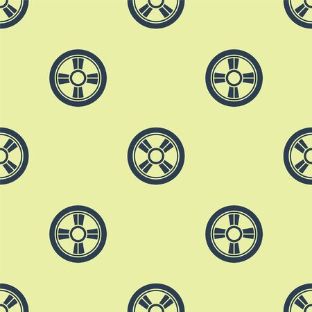 Blue Car wheel icon isolated seamless pattern on yellow background. Vector Illustration