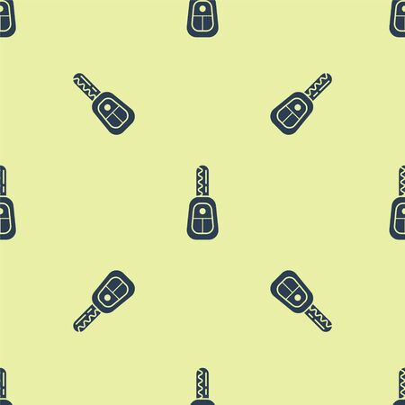 Blue Car key with remote icon isolated seamless pattern on yellow background. Car key and alarm system. Vector Illustration Векторная Иллюстрация