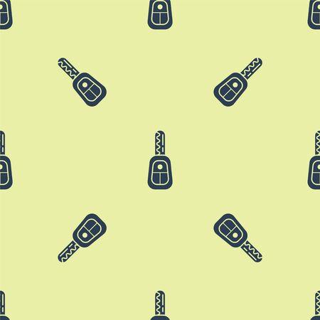 Clé de voiture bleue avec icône à distance modèle sans couture isolé sur fond jaune. Clé de voiture et système d'alarme. Illustration vectorielle Vecteurs
