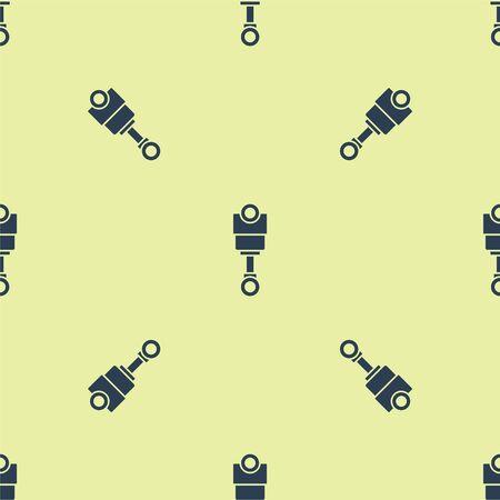 Blue Engine piston icon isolated seamless pattern on yellow background. Car engine piston sign. Vector Illustration Ilustracja
