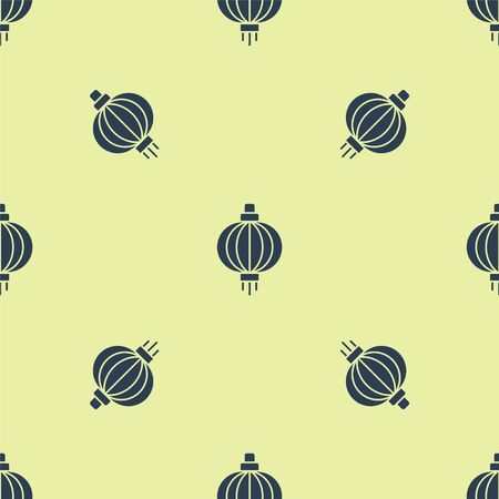 Blue Japanese paper lantern icon isolated seamless pattern on yellow background. Vector Illustration 向量圖像