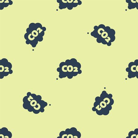 Blue CO2 emissions in cloud icon isolated seamless pattern on yellow background. Carbon dioxide formula symbol, smog pollution concept, environment concept. Vector Illustration 向量圖像