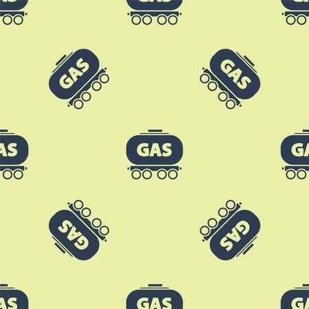 Blue Gas railway cistern icon isolated seamless pattern on yellow background. Train gasoline tank on railway car. Rail freight. Vector Illustration