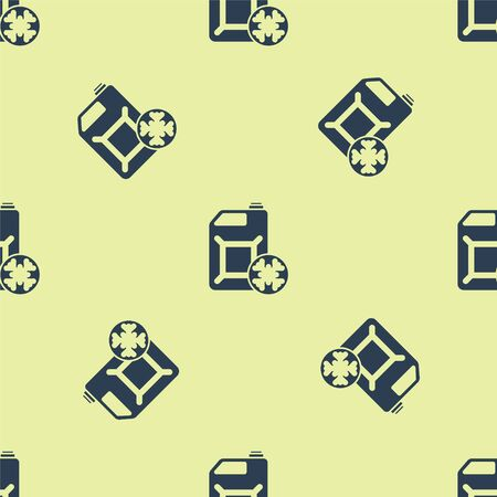 Blue Antifreeze canister icon isolated seamless pattern on yellow background. Auto service. Car repair. Vector Illustration