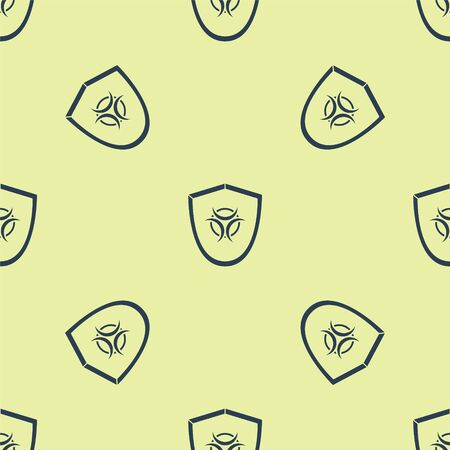 Blue Biohazard symbol on shield icon isolated seamless pattern on yellow background. Vector Illustration Ilustrace