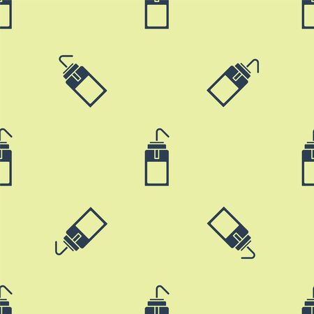 Blue Laboratory wash bottle for chemistry and science lab icon isolated seamless pattern on yellow background. Equipment for spraying water and solvents. Vector Illustration Ilustrace