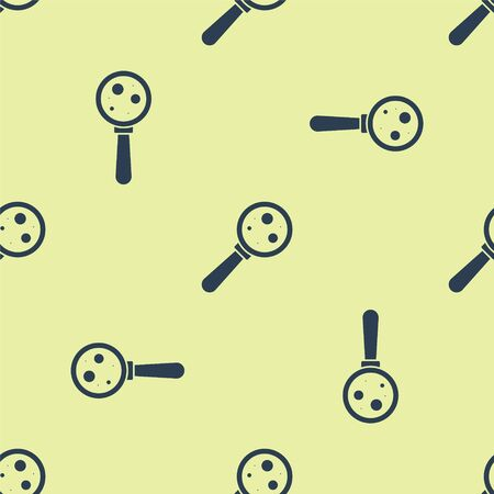 Blue Microorganisms under magnifier icon isolated seamless pattern on yellow background. Bacteria and germs, cell cancer, microbe, virus, fungi. Vector Illustration