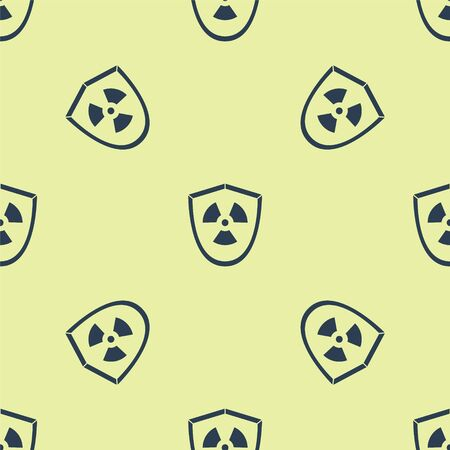 Blue Radioactive in shield icon isolated seamless pattern on yellow background. Radioactive toxic symbol. Radiation Hazard sign. Vector Illustration