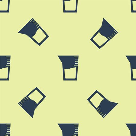 Blue Laboratory glassware or beaker icon isolated seamless pattern on yellow background. Vector Illustration Ilustrace
