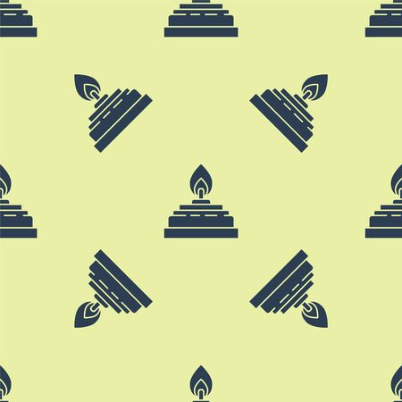 Blue Alcohol or spirit burner icon isolated seamless pattern on yellow background. Chemical equipment. Vector Illustration