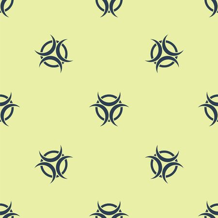 Blue Biohazard symbol icon isolated seamless pattern on yellow background. Vector Illustration