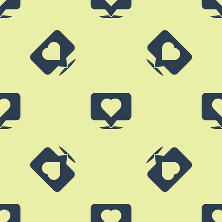 Blue Like and heart icon isolated seamless pattern on yellow background. Counter Notification Icon. Follower Insta. Vector Illustration Ilustrace