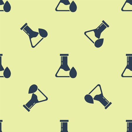 Blue Oil petrol test tube icon isolated seamless pattern on yellow background. Vector Illustration
